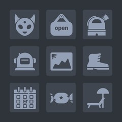 Premium set of fill icons. Such as door, beach, sweet, store, observatory, picture, character, lollipop, shop, photo, time, calendar, umbrella, leather, candy, creature, footwear, summer, space, day