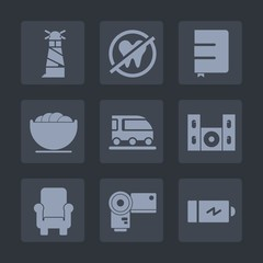 Premium set of fill icons. Such as furniture, ocean, video, energy, paper, dental, page, notebook, armchair, healthy, transportation, dish, nautical, speaker, sea, care, photo, electricity, empty, van