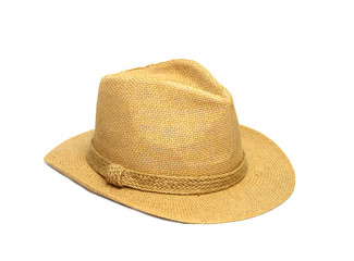 Straw hat fasion for man isolated on white background