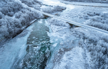 Freezing river from the above