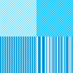 Set of seamless multicolored patterns. Striped background. Abstract geometric wallpaper of the surface. Dotted texture. Print for polygraphy, posters, t-shirts and textiles. Collection for design