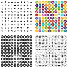 100 software engineering icons set vector in 4 variant for any web design isolated on white