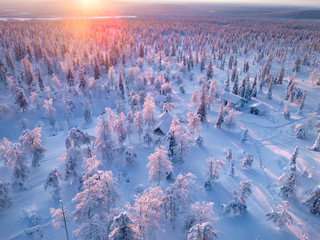 Sunset over the arctic land
