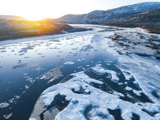 Frozen river valley