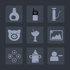 Premium set of fill icons. Such as milk, delete, healthy, sign, picture, computer, white, bottle, mobile, play, drink, glass, image, cell, communication, fun, frame, pump, account, bar, phone, game