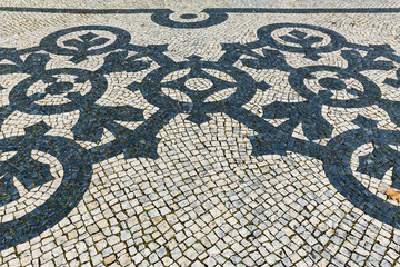 black and white pavement in lisbon, portugal
