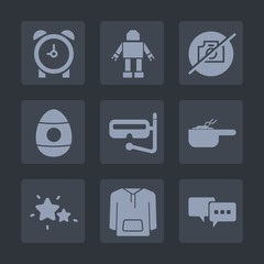 Premium set of fill icons. Such as futuristic, sky, robot, talk, snorkel, speech, easter, sign, water, pot, decoration, watch, timer, star, alarm, food, clock, intelligence, dinner, mask, hour, jacket