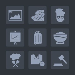 Premium set of fill icons. Such as judge, geography, law, hipster, map, male, chief, clothes, justice, photo, global, annual, paper, business, picture, food, blank, report, graph, vintage, man, earth