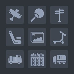 Premium set of fill icons. Such as day, scooter, shipping, fly, pong, airplane, competition, match, cargo, transport, direction, timetable, sport, arrow, travel, aircraft, game, time, ball, schedule