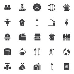 Farming and industry vector icons set, modern solid symbol collection, filled style pictogram pack. Signs, logo illustration. Set includes icons as conveyor belt, organic bio food, electronic circuit