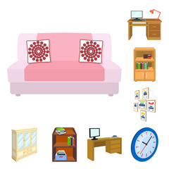 Furniture and interior cartoon icons in set collection for design. Home furnishings vector isometric symbol stock web illustration.