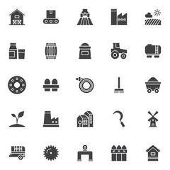 Farming vector icons set, modern solid symbol collection, filled style pictogram pack. Signs, logo illustration. Set includes icons as barn house, conveyor, agricultural machinery, factory station