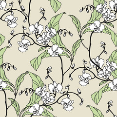 Seamless pattern with flowers orchid