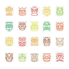 Tiki totem colored smile emotions faces muzzles line icons collection set