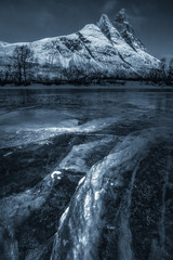 Frozen river and the mountains