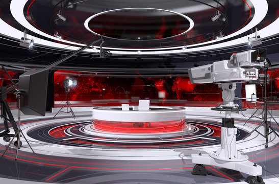 Tv Studio Interior. 3d Illustration.