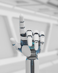 White cyborg pointing his finger 3D rendering