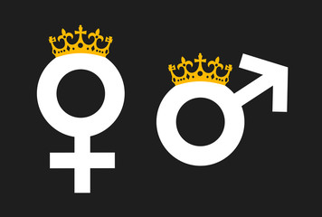 Queen and King as monarch with crown, symbol of monarchy / Matriarchy and Patriarchy - power, authority and dominance based on gender and sex. Vector illustration
