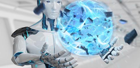 White man robot creating energy ball 3D rendering