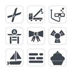 Premium fill icons set on white background . Such as pruning, cooler, culture, car, boat, truck, vehicle, business, taiko, transport, japanese, transportation, suit, garden, table, road, template, toy