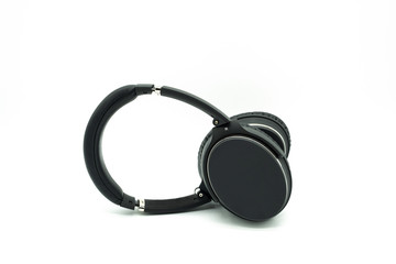Black & Silver headphones on white background