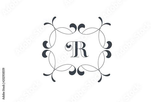 Luxury Vector Letter R Logo Design Elegant Floral Vintage Decorative Frame