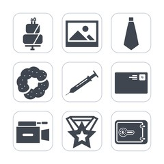 Premium fill icons set on white background . Such as frame, send, medal, internet, cookie, bakery, cake, communication, picture, suit, letter, award, old, delicious, video, blank, background, antique