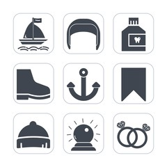 Premium fill icons set on white background . Such as silhouette, health, fresh, work, marine, building, sport, wind, oral, mouth, care, sign, clean, equipment, headwear, mouthwash, style, anchor, ring