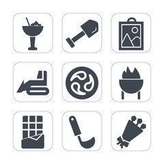 Premium fill icons set on white background . Such as ladle, food, screwdriver, ice, equipment, soup, glass, machinery, cooking, barbecue, kamon, camera, construction, web, grill, lemon, lime, flower
