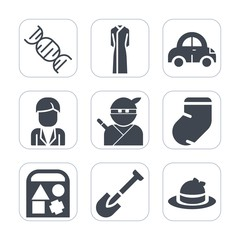 Premium fill icons set on white background . Such as biology, sign, transportation, clothes, dna, man, warm, winter, construction, medical, japanese, medicine, shovel, equipment, auto, vehicle, dress