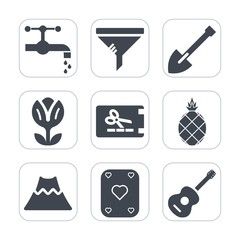 Premium fill icons set on white background . Such as plumbing, play, nature, flower, fresh, fruit, clean, lava, crater, service, coupon, music, equipment, price, conditioner, white, kitchen, metal