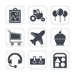 Premium fill icons set on white background . Such as pie, cake, aircraft, farm, web, cart, retail, music, laboratory, celebration, sweet, tractor, market, sign, flight, photo, equipment, machinery