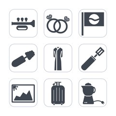 Premium fill icons set on white background . Such as ring, photo, makeup, food, mascara, engagement, diamond, cooking, luggage, pan, teapot, gift, romance, female, travel, picture, japan, tea, sound