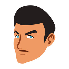 Angry man face cartoon vector illustration graphic design