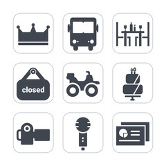 Premium fill icons set on white background . Such as bus, dessert, extreme, dinner, restaurant, travel, shop, photo, coffee, business, crown, sign, photography, cake, quad, camera, banner, road, chart