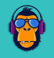 Cool monkey with glasses and headphones