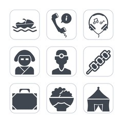 Premium fill icons set on white background . Such as call, circus, modern, white, dentistry, audio, asian, bag, medicine, phone, agriculture, ship, kebab, grain, boat, sea, shipping, kimono, music
