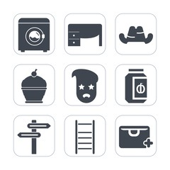 Premium fill icons set on white background . Such as notebook, housework, work, business, sweet, computer, white, laundry, ladder, jar, food, appliance, desk, banner, graphic, top, clothes, sale, hat