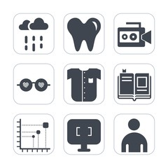 Premium fill icons set on white background . Such as literature, rain, education, hygiene, dentistry, raindrop, autumn, male, video, weather, shirt, day, clothing, film, dentist, drop, business, light