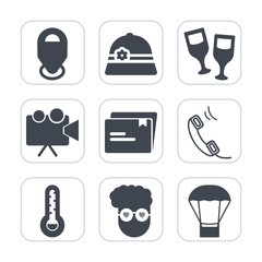 Premium fill icons set on white background . Such as video, cap, location, restaurant, screen, phone, beverage, wineglass, movie, hipster, projector, thermometer, sign, equipment, retro, red, pointer