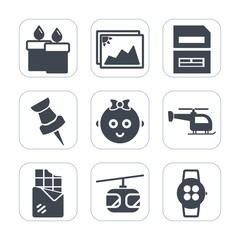 Premium fill icons set on white background . Such as childhood, frame, time, file, data, document, helicopter, sky, rail, white, kid, train, paper, image, glowing, computer, baby, sign, blue, bar, pin