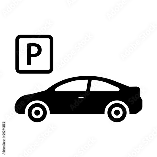 Car Icon Isolated Parking Sign Car Parking Valet Flat Design