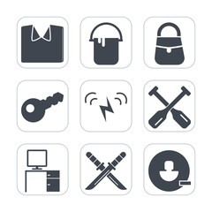 Premium fill icons set on white background . Such as paddle, textile, user, oar, house, avatar, clothes, shirt, painter, interior, decoration, man, water, color, bag, canoe, style, sword, key, cotton