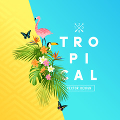 Tropical rainforest summer design with palm tree leaves, Plumeria, and tropical birds. vector illustration.
