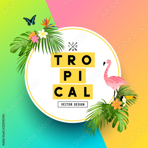 a bright and colorful tropical summer design with plumerias a