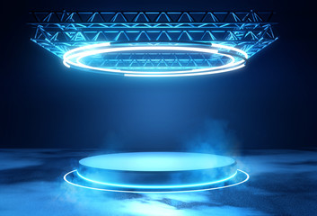 A futuristic technology blank platform with blue glowing neon round lighting. Science fiction 3D illustration.