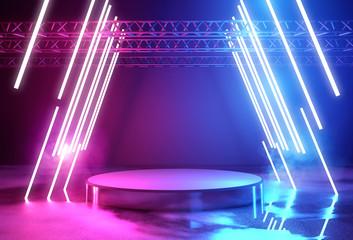 Neon Lighting And Platform Stage