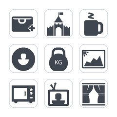 Premium fill icons set on white background . Such as shop, tower, sale, business, medieval, kingdom, profile, cup, oven, avatar, weight, user, building, bag, market, tv, microwave, beverage, picture