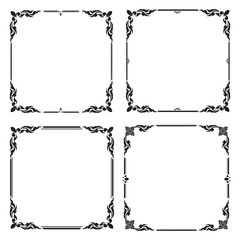 Set Decorative frame and border, Square frame, Black and white, Thai pattern, Vector illustration