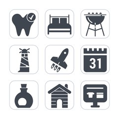 Premium fill icons set on white background . Such as real, launch, pillow, cart, dentist, bed, oil, mattress, dentistry, grill, lighthouse, schedule, hygiene, healthy, house, timetable, sea, cooking